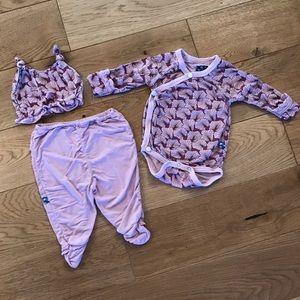 Girls KicKee Pants Set Onesie, Pants, Hat 0-3 mo